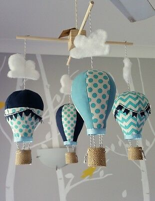 Baby mobile for childs nursery - Hot Air Balloons in Blue and Navy