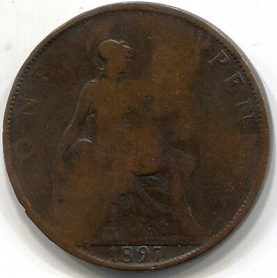 1897 UK GREAT BRITAIN ONE PENNY Coin