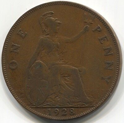1928 UK GREAT BRITAIN ONE PENNY Coin