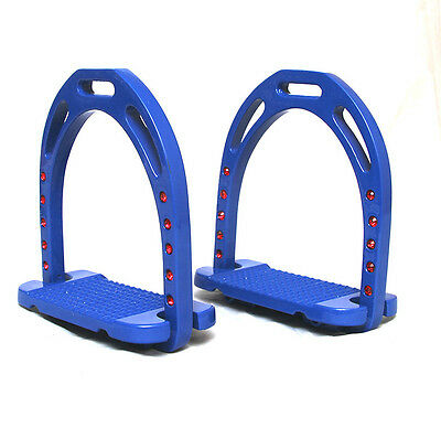 "New Stirrups Blue Iron Steel Safe Riding 5""inches - Free P&p Ca"