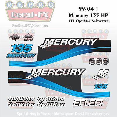 1999-04 Mercury 135HP Blue Decals EFI OptiMax Saltwater 15pc Repro Outboard 2004