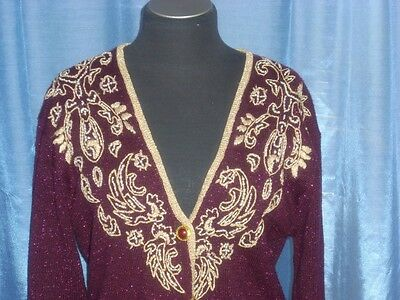 VINTAGE 60's METALLIC EMBROIDERED BEADED PINUP SWEATER CARDIGAN M-L