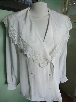 VTG 80's  WHITE EMBROIDERED LACE SCALLOPED VICTORIAN BLOUSE 7-8 M