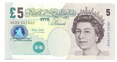 """""""Bank of England £5 pounds,""""RARE SIGNATURE """"Merlyn Lowther"""" AUNC Banknote"""""""