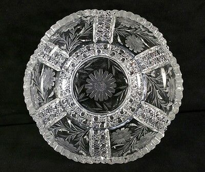 APB Unmarked Pairpoint Sawtooth Cut Glass Bowl w Hatching Flowers Leaves