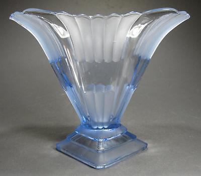 Vintage 1930s art deco blue depression glass vase fan shaped Walther? A/F