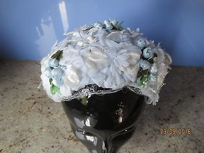 Vintage 60s blue/white floral and buds hat, topper/velvet/chiffon/wedding