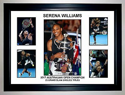 Serena Williams 2017 Aus Open Champion 5 Photo Collage Signed Print Or Framed
