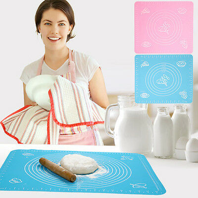 Silicone Cake Dough Pastry Fondant Rolling Cutting Mat Baking Pad Baker Tool CY