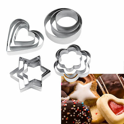 12pcs Stainless Steel Cookie Biscuit DIY Mold Star Heart Cutter Baking Mould CU