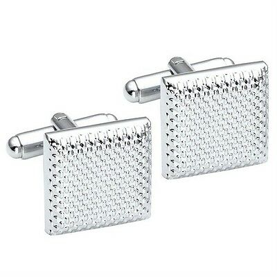 Silver Retro Business Stainless Steel Cufflinks Square Vintage Wedding Gift CU
