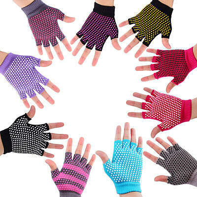 Breathable Sweat-Absorbent Yoga Fingerless Non-slip Exercise Grip Gloves IU