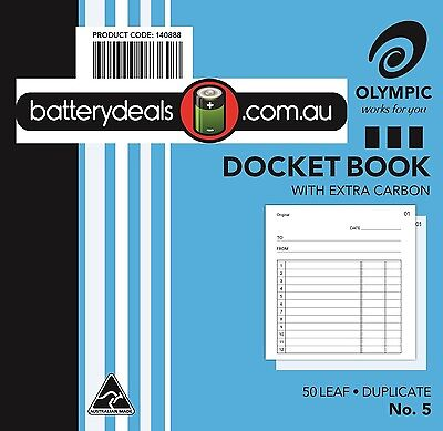 Docket Book Olympic No.5 120x 125mm Duplicate #5 140888 50 Leaf No5