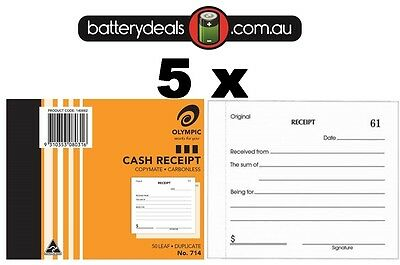 5 Olympic Cash Receipt Books Duplicate No714 Carbonless 50 Leaf 140882 #714