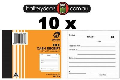 10 Olympic Cash Receipt Books Duplicate No714 Carbonless 50 Leaf 140882 #714
