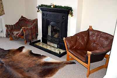 Pair of Relling for Westnofa Leather Sling Chairs, Original Danish renovation