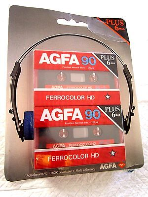 CASSETTE TAPE BLANK SEALED - 1x (one) pack of 2x  AGFA FERROCOLOR HD 90+6 [1985]