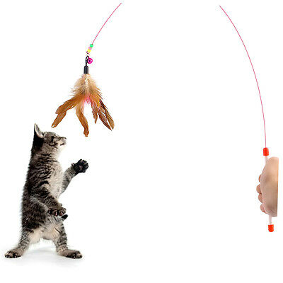 Kitten Cat Pet Toy Wire Chaser Wand Teaser Feather With Bell Beads Play Fun CU