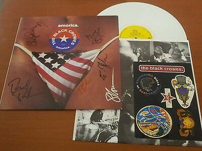 Black Crowes Amorica White Vinyl Signed By Fully Classic Line Up 1St Pressing