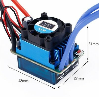 Racing 60A ESC Brushless Electric Speed Controller For 1:10 RC Car Truck CU