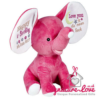 Personalised Embroidered Bright Pink Elephant Soft Toy/New Baby/Christening/Gift