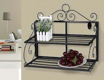 2-Tier Metal Shelf Display Wall Mounted Vintage Iron Bookcase Storage Unit Black