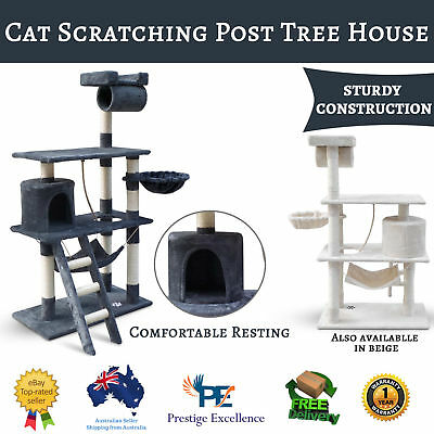 Cat Scratching Post Tree Post House Tower with Ladder Furniture Large 141cm New