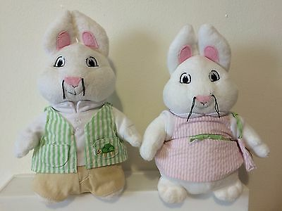 "Max & Ruby 10""  Bunny Rabbit Plush Doll 2011 Rosemary Wells Set Of 2"