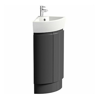 Mode -  Curvaceous slate compact  corner vanity unit and ceramic basin