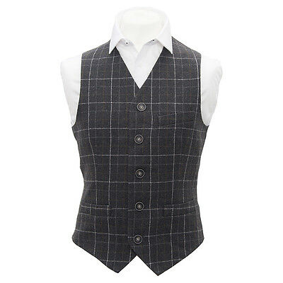 Heritage Check Charcoal Grey Mens, Waistcoat, Tweed, Tailored Fit