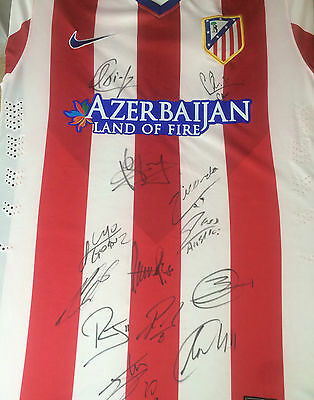 Atletico Madrid Signed Football Shirt+Photo Proof*see Players Sign Shirt*
