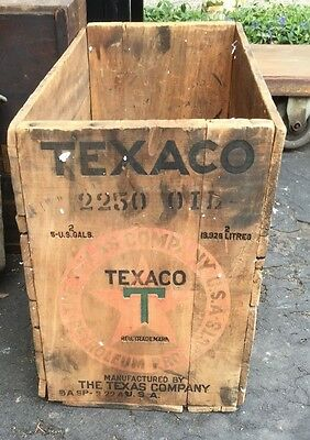 VERY RARE ORIGINAL 1943 TEXACO Engraved Wooden Crate GRAPHICS & ENGRAVED 2 Sides