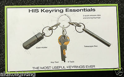 HIS ESSENTIALS True Utility Cash Stash telescopic pen Keyring KeyTool TU700
