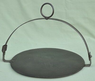 """Vintage 12"""" Wrought Iron Flat Skillet Frying Pan Gypsy Romany Camp Fire Cooking"""