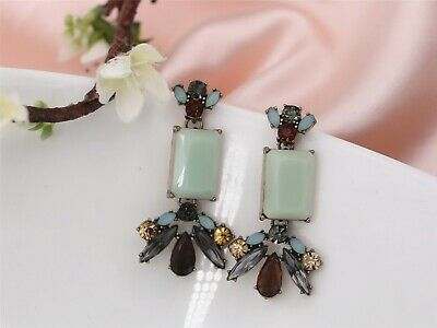 Costume Fashion Earring Stud Gold Blue Grey Brown Crystal Pendant Retro A2