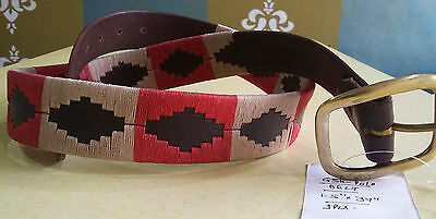 New Argentina Hand Made Leather Brown Argentina Polo Belt Cream/red