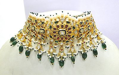 Vintage antique solid 20k Gold jewelry Diamond Ruby Emerald Choker necklace