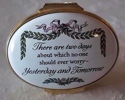 Halcyon Days Enamels HP Box-Yesterday & Tomorrow-which no one should ever worry