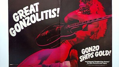 """Ted Nugent """"double Live Gonzo""""  (1978)   Rare Original Print Promo Poster Ad"""