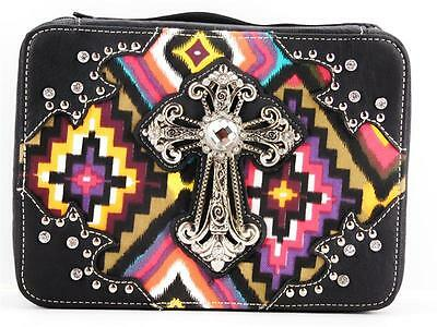 Aztec Multi Color Bling Rhinestone Cross Western Bible Book Cover Case Black New