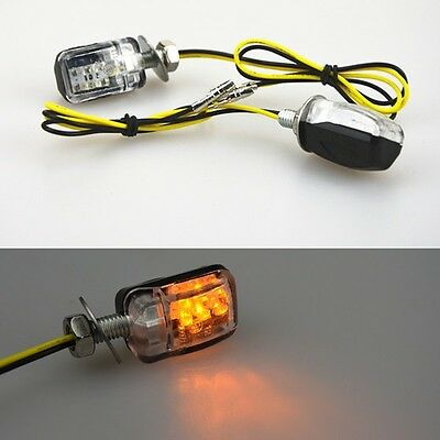 2pcs Stalk Black Motorcycle Mini 6LED Amber Turn Signal Lights Blinker Indicator
