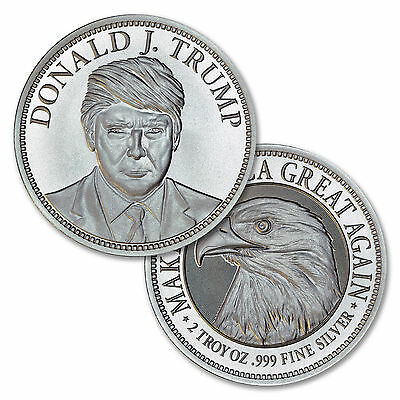 2016 Trump Campaign Medal Ultra High Relief 50 mm 2 oz .999 Silver Round BU Coin
