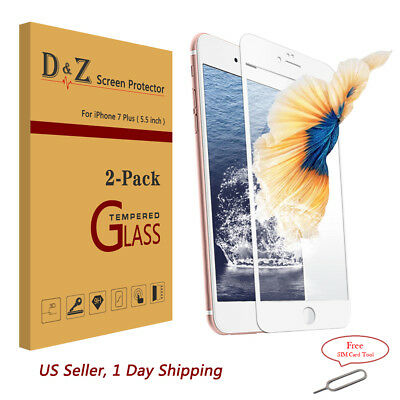 NEW 2X Full Coverage 3D Curved Tempered Glass Screen Protector for iPhone 7 Plus