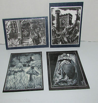 Beautiful Group Of 4 Gothic Postcards Artist Signed  Anna Valeska