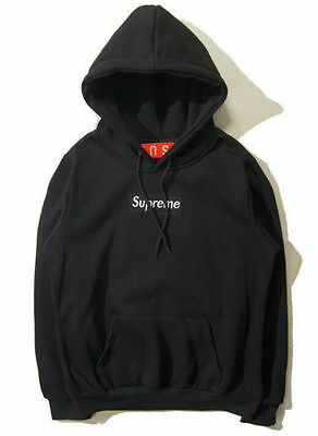 New Black Mens SUPREME Hip Hop Hoodie Embroidered Cotton Sweater Men's Hoodies