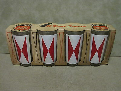 Phillips 66 Oil Company Set of 4 Glasses issued as Giveaway in 1965
