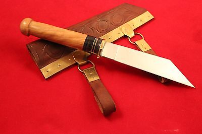 Viking Long Sax Knife,scabbard With Brass,seax Knife With Urnes Bronze Fitting