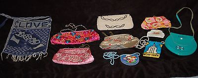 Mixed Lot 10 Vintage Beaded Handbags Kids Coin Purse Clutch leather Shoulder Bag
