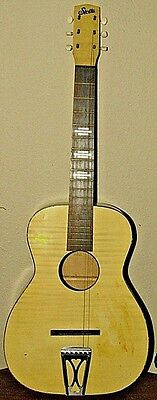 vintage STELLA PARLOR GUITAR & CASE BLONDE FLAME FAUX FINISH FREE SHIPPING US 48