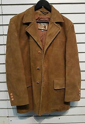 HOUSE OF HIDE SUEDE BROWN TAN  MENS JACKET COAT VINTAGE 1970's CASA PIEL SIZE 42